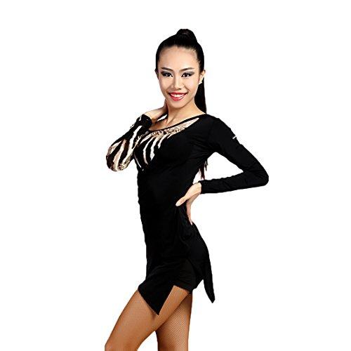G1008 Latin Tanzpraxis/ Training und Wettkampf/ Show zwei Farben verbundene Spalt Kleider angeboten von GloriaDance (black+(stone color), small) (Waltz Kurzarm-kleid)
