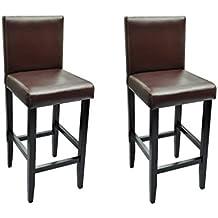 8ae7878997196e vidaXL 2x Tabourets de Bar Cuir Synthétique Marron Chaises Cuisine Salon