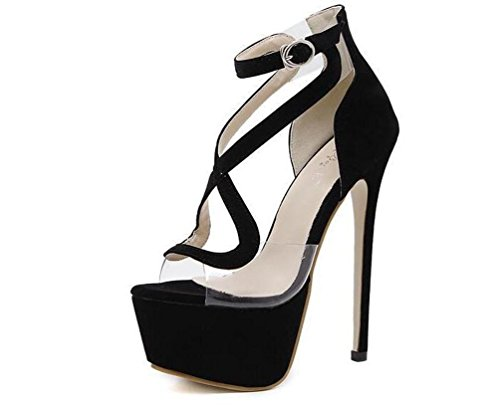 Beauqueen Platform Sandalen Open-Toe Transparente Obere Stiletto High Heel Buckle Limited Edition Schuhe EU Größe 34-40 Black