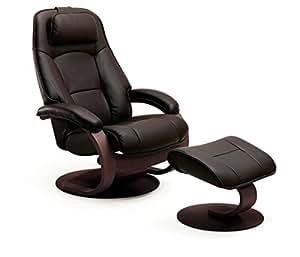 Admiral fauteuil relax avec tabouret repose pieds en cuir - Fauteuil relax amazon ...