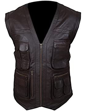Leatherly Chaqueta de hombre Jurassic World Chris Pratt Owen Grady Vest Sintético Cuero