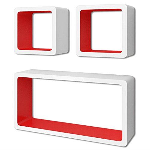 vidaXL 3 Etagères cubes murales en MDF Blanc-Rouge Stockage rangement pour DVD/Livres