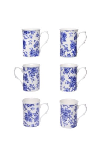 (ITEM 1S) Kirsty Jayne China 6 X FLEUR gobelets de porcelaine d'os, tasses, tasses- 10Fl oz Bone China BLUE FLORAL flower chintz Beakers, Mugs, Cups- Packed in a Kirsty Jayne China gift boxed (SET OF 6 GIFT BOXED MUGS) (FREE TRACKED & INSURED COURIER POSTAGE)