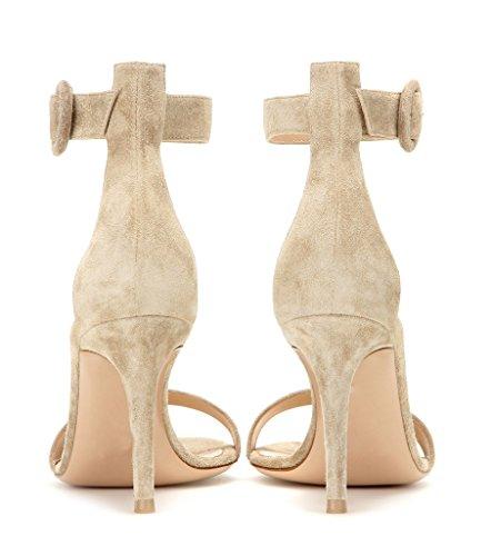 EDEFS Damen Peep Toe 80mm High Heel Sandalen mit Schnalle Sommer Stilettsandalen Knöchelriemchen Schuhe Camel-SL