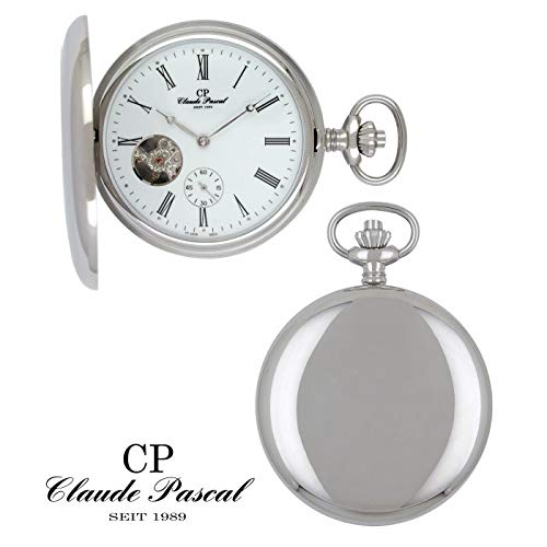 Claude Pascal Taschenuhr 572193 PSER Savonette Silber 925/-, Doppelscharnier, PTS-Handaufzug, skelettiert