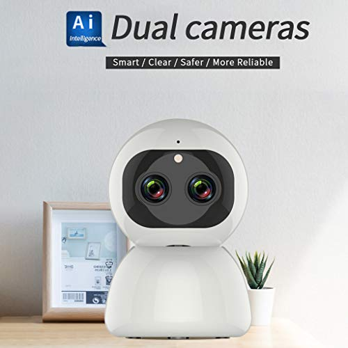 Dkings 1080p Pan/Tilt/Zoom Wi-Fi Smart Home-Innenkamera mit Nachtsicht, Wireless 1080P 8MP WiFi IP-Dual-Lens-Zoom-Kamera CCTV-Sicherheit PTZ-Camcorder