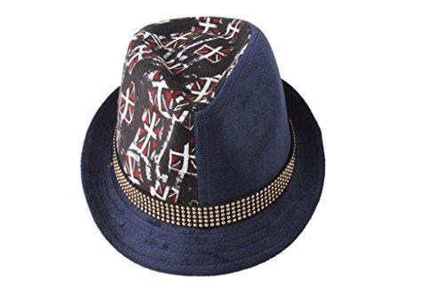 Dantiya Enfant Garçon Chapeau Panama Classique Imprimé Motif 3 Coueurs Bleu foncé