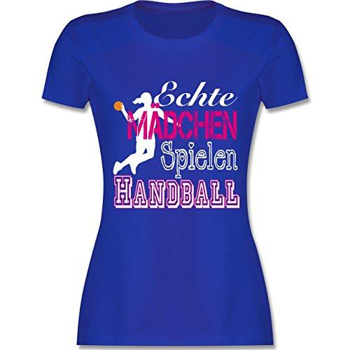 Handball - Echte Mädchen Spielen Handball weiß - S - Royalblau - L191 - Damen T-Shirt Rundhals