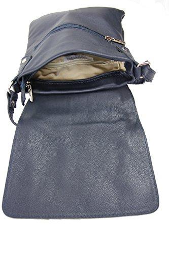 Schultertasche Umhängetasche Henkeltasche Damentasche schwarz Leder Blau