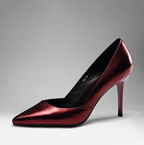 WSS chaussures à talon haut Stiletto forte lumière quatre-saisons chaussure de chaussures haut talon de cuir Western fashion shoes Red