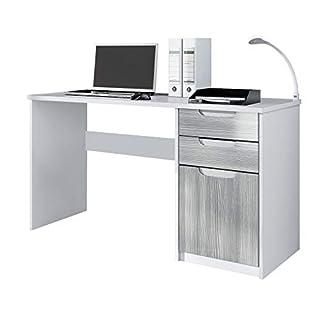 Vladon Desk Bureau Office Furniture Logan, Carcass in White matt/Fronts in Avola-Anthracite