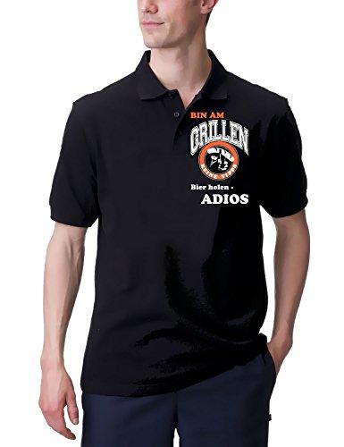 Coole-Fun-T-Shirts Poloshirt Bin Am Grillen - Bier Holen - Adios - VO+HI Grill, schwarz, L, - Holzkohle-grill-event