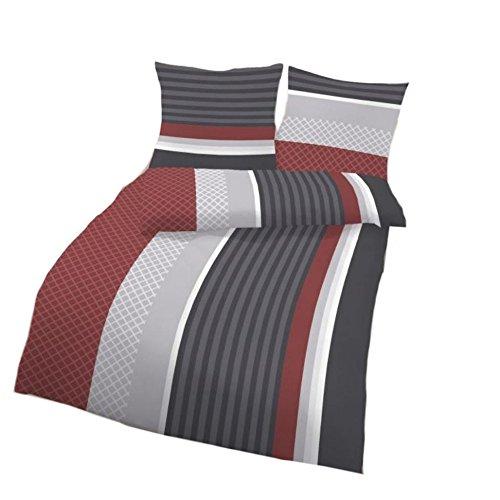 Unbekannt IDO Renforcé Bettwäsche 2tlg. Rot Grau gestreift 17709-418 Bettwäsche Bettbezug 80x80 cm / 135x200 cm (Bettbezug Vollständige)