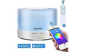 KBAYBO APLICACIÓN inteligente/Wi-Fi y control remoto Difusor de aceite esencial Difusor de aromaterapia Humidificadores ultrasónicos (500ml)
