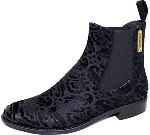 BOCKSTIEGEL® REBECCA Femmes - Demi Bottes en Caoutchouc élégant de style Leopard (Tailles: 36-41) Black