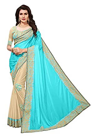 Esomic Women's Georgette Saree With Blouse Piece (Blue)