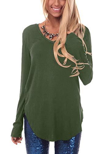 ZIOOER Damen Pulli Langarm T-Shirt V-Ausschnitt Lose Bluse Langarmshirts Hemd Pullover Sweatshirt Oberteil Tops Shirts Armygrün S