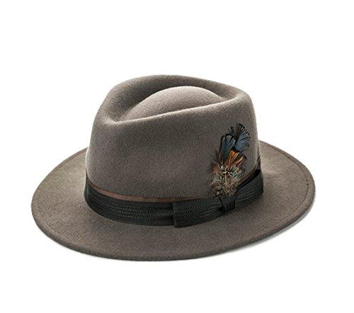 Insun Herren Hut Fedora Hut Panamahüte Wollfilz Trilby mit Feder Wintermütze Khaki