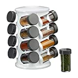 Relaxdays Gewürzständer, drehbar, 16 Gewürzdosen, aromadichte Aufbewahrung, Gewürz & Kräuter Organizer, Kunststoff, weiß