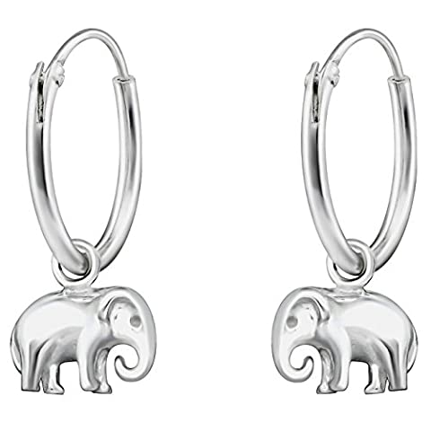 JAYARE Kinder-Ohrringe Elefanten 17 x 7 mm blank 925 Sterling Silber silber im Etui