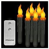 LACGO - Juego de 6 velas cónicas con mando a distancia de 17,78 cm, para uso en interiores y exteriores, mando a distancia incluido