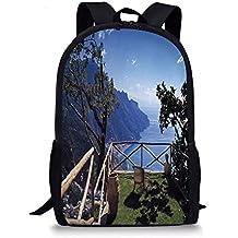 VVIANS School Bags Country Decor,Mediterranean Scenic View Mountain Cliffs Sea Coast Travel Destination,
