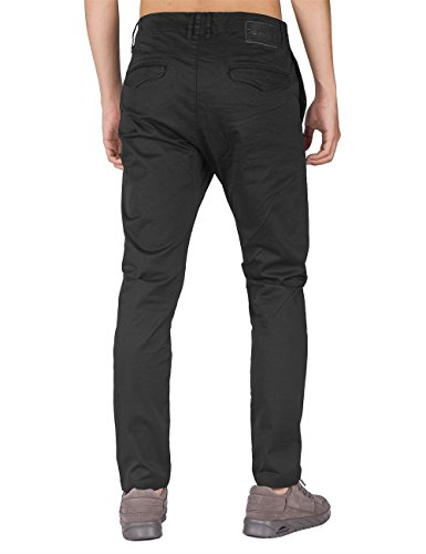 THE AWOKEN Herren Chino Business Hosen Casual Hose Slim Fit Stoffhose Freizeithose Schwarz