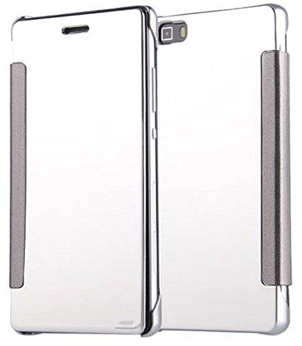 Preisvergleich Produktbild Huawei P9 Lite / Huawei G9 Lite Hülle Leder [Silber] ISENPENK Flip Case TPU+PC , Muster Huawei P9 Lite / Huawei G9 Lite Hülle Transparent Durchsichtig Tasche Handyhülle Lederhülle 2-in-1 Bookstyle Geldbörse Tasche Schutzhülle