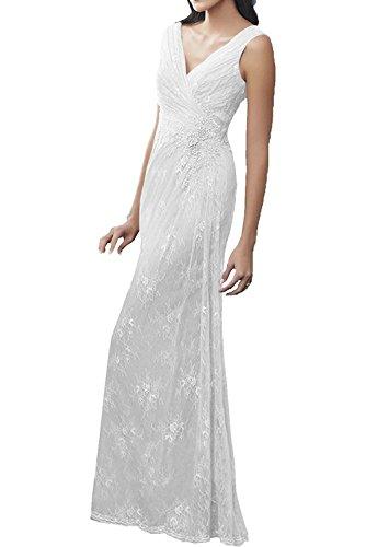Victory Bridal Hell Grau Spitze Brautmutterkleider Partykleider Promkleider Schmaler schnitt Bodenlang Festlichkleider Weiß