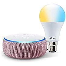 Echo Dot (Purple) bundle with Wipro 9W smart white bulb