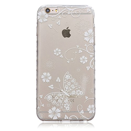 iphone 6 Plus Coque, MYTH Doux Flexible - Coloré Parapluie Slim Silicone Ultra Mince TPU Bumper Protection Housse Pour iphone 6 Plus / iphone 6s Plus Solide Blanc Papillon