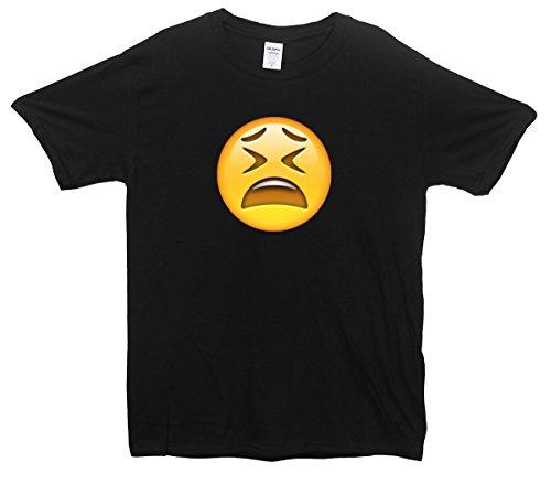 Tired Face Emoji T-Shirt Schwarz