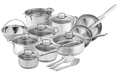 Chef's Star Professional Grade Stainless Steel 17 Piece Induction Ready Cookware Set with Impact-bonded Technology