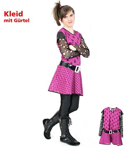 Kinderkostüm Punky Girl, Punkerin, Punk, Rock, Punkgirl, 2-tlg. Kleid mit Gürtel (Rock Kostüme Kinder Punk)