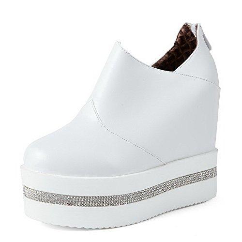 AllhqFashion Damen Pu Leder Hoher Absatz Rund Zehe Rein Reißverschluss Pumps Schuhe Weiß