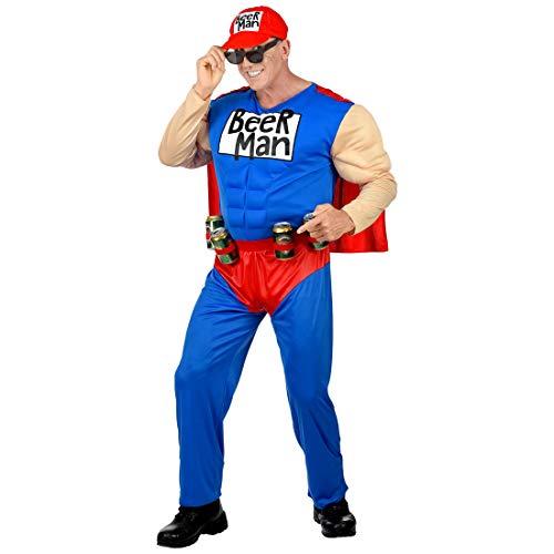 Amakando Originelles Superheldenkostüm Biermann / Blau-Rot in Größe S (48) / Ausgefallenes Outfit Superhero / EIN Blickfang zu Fastnacht & ()
