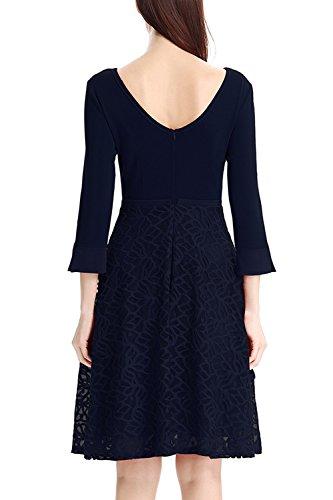 Élégante dentelle creux de la femme sur Swing Party Dress blue