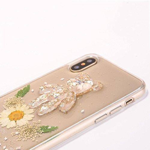 Mobiltelefonhülle - Für iPhone X Epoxy-Tropfpresse Echte Getrocknete Blume + Bärenmuster Weiche Schutzhülle ( Farbe : Blau ) Weiß