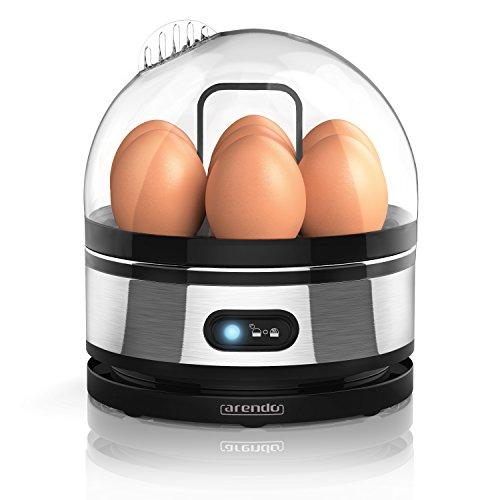 eierkocher fuer 3 eier Arendo - Edelstahl Eierkocher mit Warmhaltefunktion | Kipp-Funktionsschalter mit Indikationsleuchte | einstellbarer Härtegrad | Abschrecken von 1-7 Eiern | rostfreier, gebürsteter Edelstahl