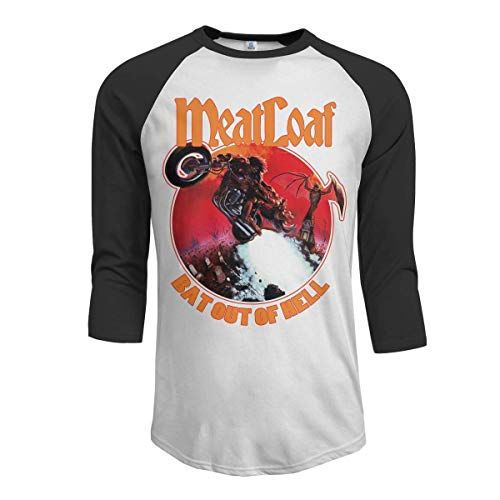 JeremiahR Meat Loaf Band Bat Out of Hell Men's 3/4 Sleeve Raglan Baseball T-Shirts Black S -
