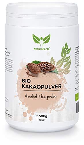 NaturaForte Bio Kakao-Pulver 500g - Stark Entölt, Zuckerfrei, 11% Fett, Super-Food, Vegan, Rein und Glutenfrei, Intensives Aroma aus hochwertig Cacao-Bohnen, Trinkschokolade in Rohkost-Qualität