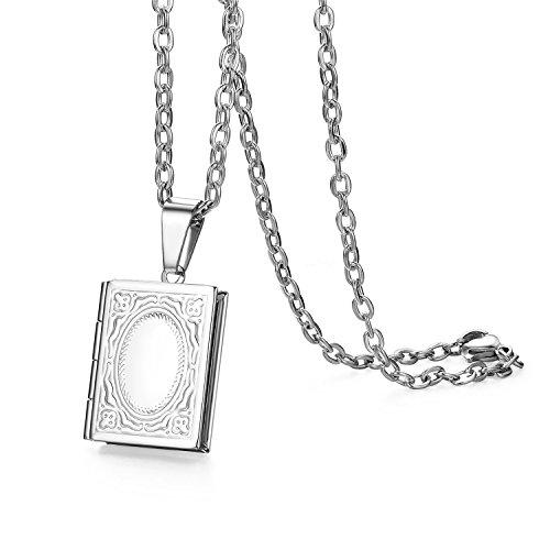 Oidea Hombre Mujer Libro Colgante con Collar de Plata, Vintage Grabado Acero Inoxidable Foto medallón Ovalado Photo imágenes Amuleto portatil Cadena