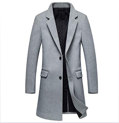 ZHANGZHIYUA Herren Wolle Einreiher Winter Trench Jacke Woolen PEA Coat,A,180 (Coat Kapuze Pea Männer)
