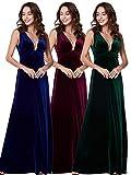 Ever Pretty Damen Sexy V-Ausschnitt Samt Abendkleider 44 Größe Mitternachtsblau