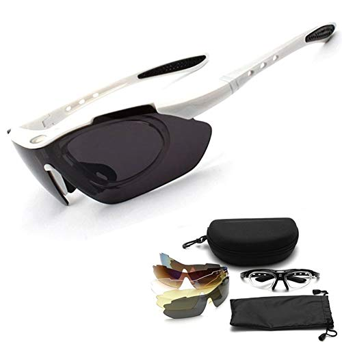 ZHHO Sport-Sonnenbrille Einen.Kreislauf.durchmachentreibende Schutz Antofog Brille UV-Schutz Brillen Sicherheit Schweißbrillen (Color : White)