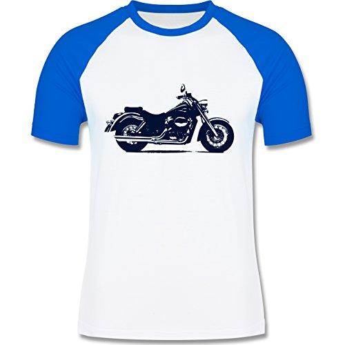 Motorräder - Motorrad - zweifarbiges Baseballshirt für Männer Weiß/Royalblau