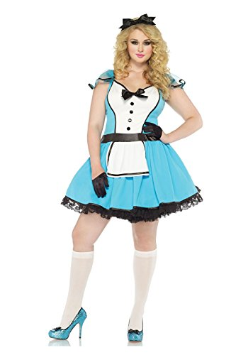 Kostüm Storybook Alice - Leg Avenue 85355X - Storybook Alice Kostüm Set, 2-teilig, Größe 44-46, blau/weiß