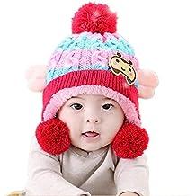 DOTBUY Bébé Bonnet Tricoté, Unisexe Garçon Filles Hiver Chaud Bonnet  Enfants Bonnet d hiver c42bfbcd548