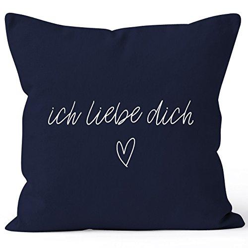 Kissenbezug Kissenhülle Ich liebe Dich Liebe Love Geschenk Deko-Kissen Baumwolle MoonWorks® navy 40cm x 40cm