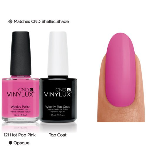 Vinylux CND Duo - Top Coat plus Hot Pop Pink, 1er Pack (1 x 30 g) - Pop Beauty Polish Nail